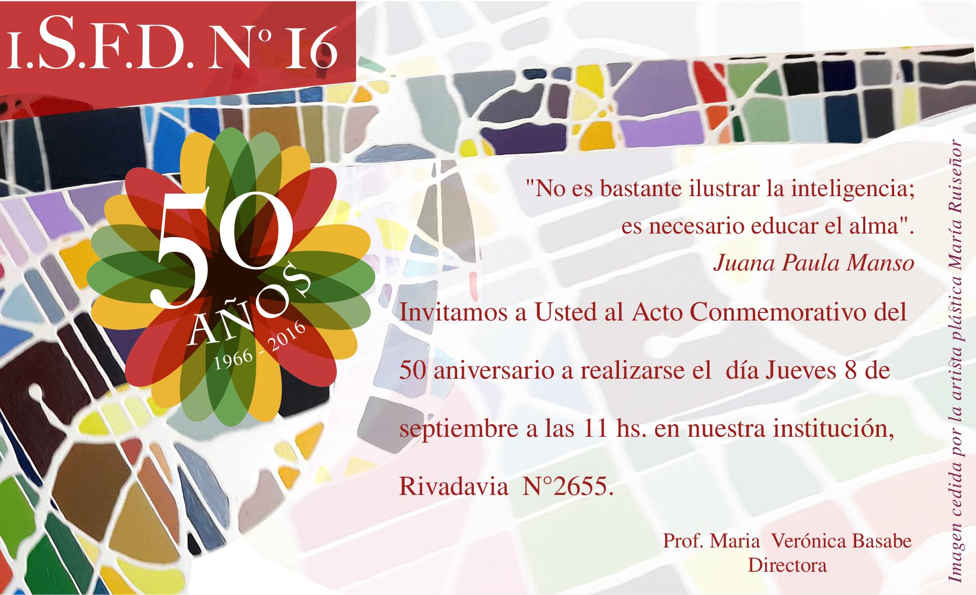Invitación 50 Aniversario Instituto Superior De Formación